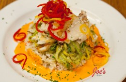 Grilled Alaskan Cod in Roasted Red Pepper Couli