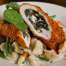Panko crusted filled chicken breast