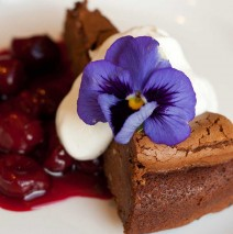 Dark-Chocolate-Tart-with-Sour-cherry-compote