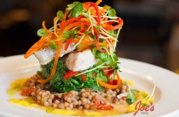 Yellowtail on Couscous with braised Greens
