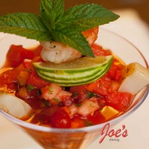 Grilled Shrimp and Sea Scallop on Watermelon Gazpacho